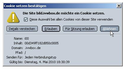 Screenshot selektive Abfrage Cookie annehmen?